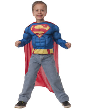 Kit costum Superman musculos în cutie pentru băiat