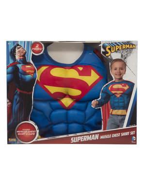 Zestaw kostium Superman muskularny w pudełku dla chłopca