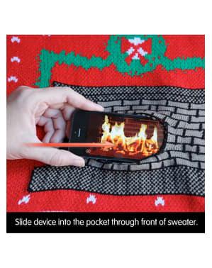 Maglione natalizio animato con camino acceso
