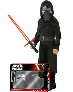Star Wars: The Force Awakens Kylo Ren Maskeraddräkt med lasersvärd i låda Barn