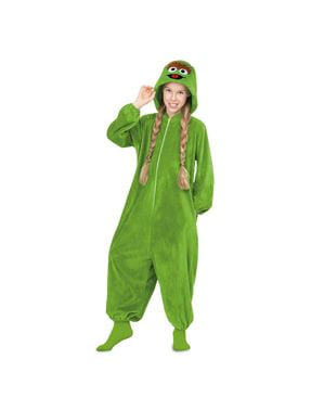 Costum Oscar the Grouch Sesame Street onesie pentru adult