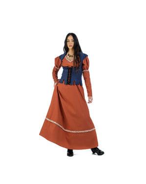 Fato de camponesa medieval laranja para mulher