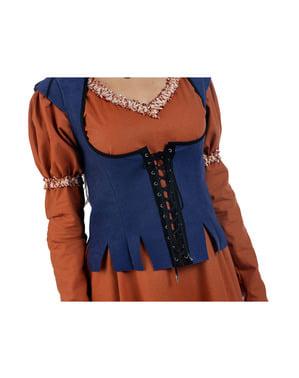Costum de țărăncuță medievală portocaliu pentru femeie