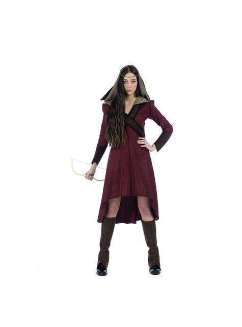 Disfraz de arquera medieval valiente para mujer