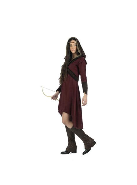 Disfraz de arquera medieval valiente para mujer - traje