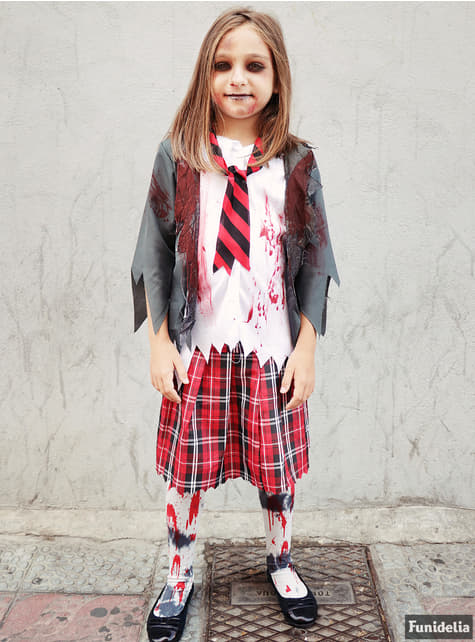 Disfraz de estudiante zombie para niña - traje