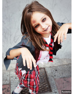 Disfraz de estudiante zombie para niña
