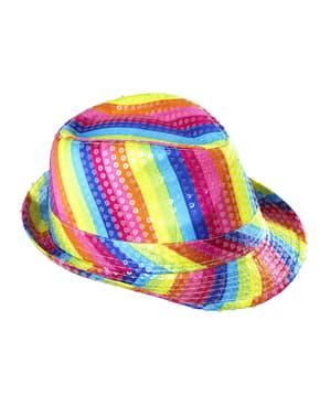 Monivärinen pesquins hattu