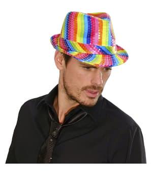 Wielokolorowy kapelusz z cekinami