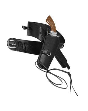 Cinturón con funda para pistola negro para hombre