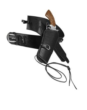 Zwarte riem met pistool holster voor mannen