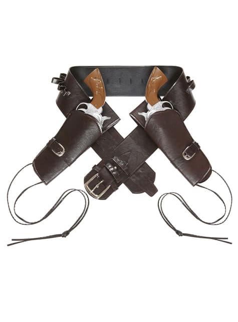 Cinturón con doble funda para pistola marrón para hombre - para tu disfraz