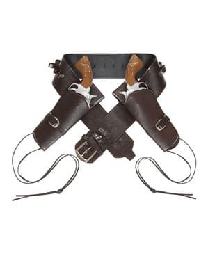 Cinturón con doble funda para pistola marrón para hombre