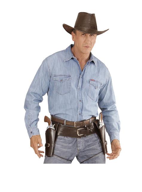 Cinturón con doble funda para pistola marrón para hombre - original