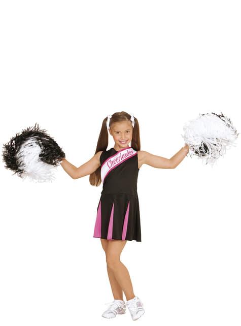 Amerikaanse cheerleader zwart en roze kostuum voor meisjes