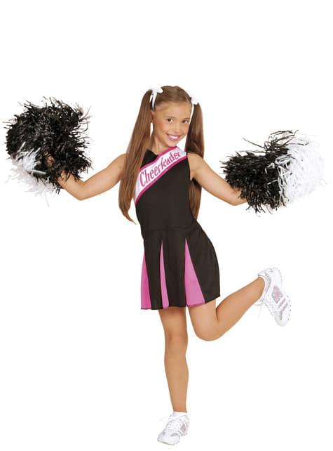 Disfraz de animadora negro y rosa para niña - original