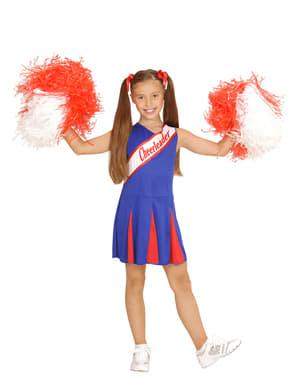 Costume da ragazza pon pon azzurro e rosso da bambina