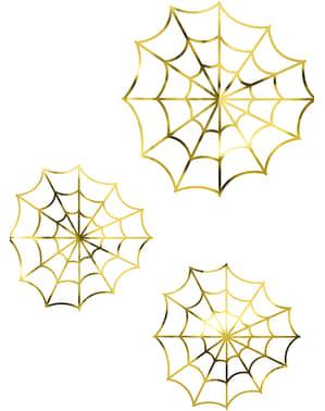 Spinnweben aus Papier gold