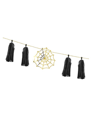 Paper Garland with Gold Cobwebs