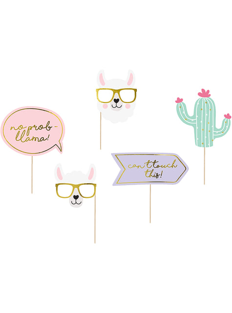 5 Photo Booth Props - Llama Party