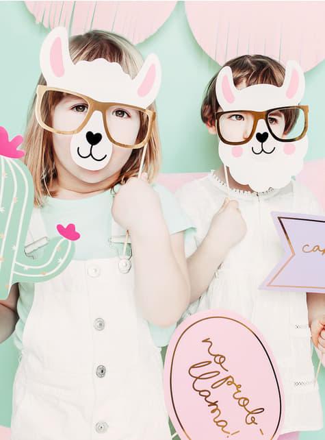 5 Photo Booth rekvisitter - Llama Party - billige