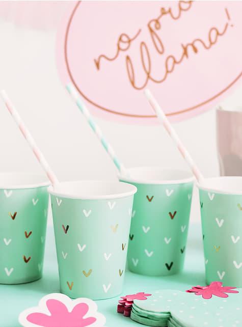 6 vasos verdes - Llama Party - para tus fiestas