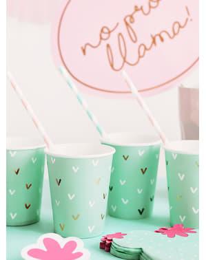 6 vasos verdes - Llama Party