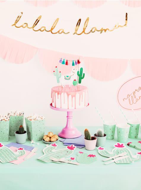 6 vasos verdes - Llama Party - para decorar todo durante tu fiesta