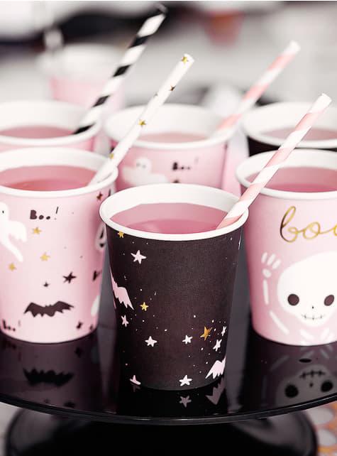 6 copos pretos e rosa - Boo!