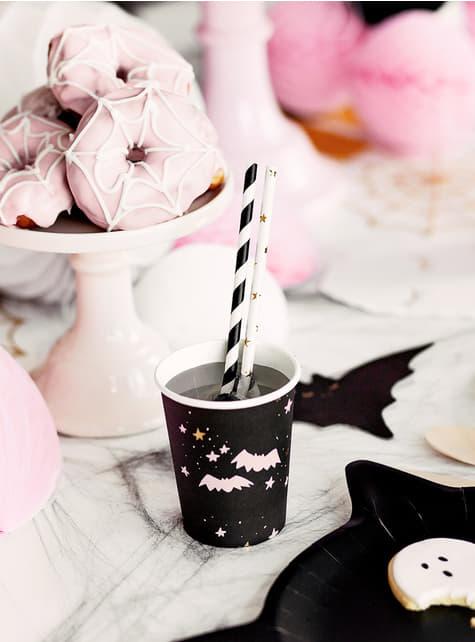 6 gobelets noirs et roses - Boo! - pour décorer votre fête