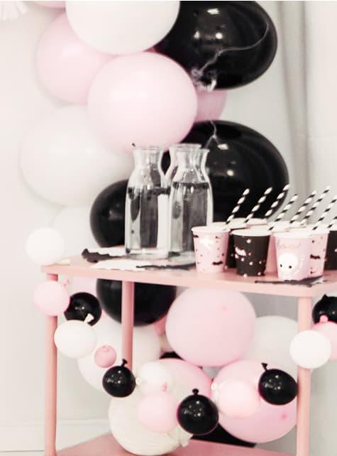 6 vasos negros y rosas - Boo!