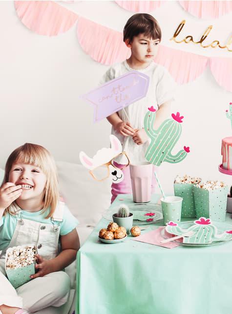 6 Popcorn Schachteln mit Kaktus - Lama Party - für Kinder und Erwachsene