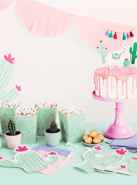 6 contenitori per pop corn con cactus - Llama Party - originale