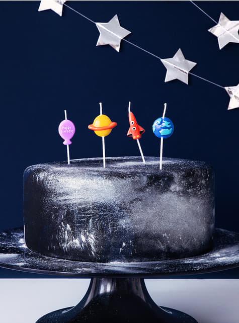4 Fødselsdagslys - Space Party - til fester