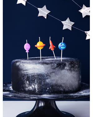 4 syntymäpäiväkynttilää - Space Party