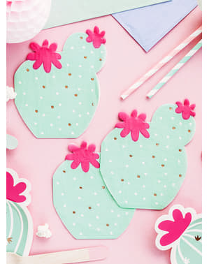 20 Serviettes en papier cocktail cactus (11 cm)