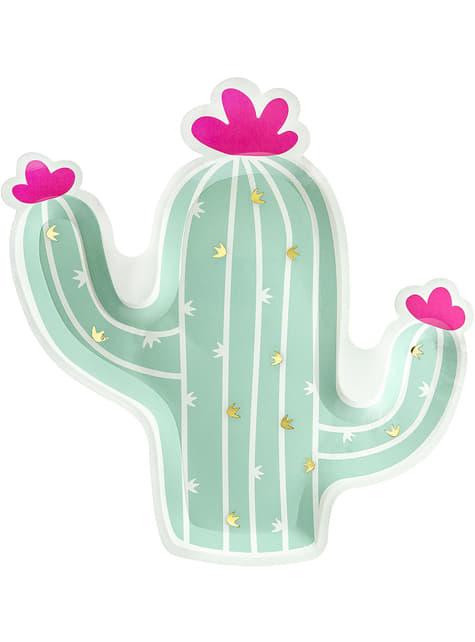 6 platos de cactus (23 cm) - Llama Party
