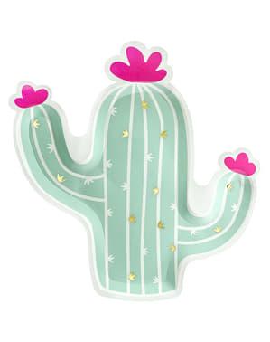 6 Kaktus Pappteller (23 cm) - Lama Party