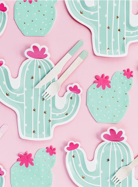 6 cactus borden (23 cm) - Llama Party - kopen