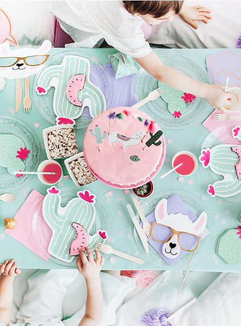 20 pratos de catos (23 cm) - Llama Party