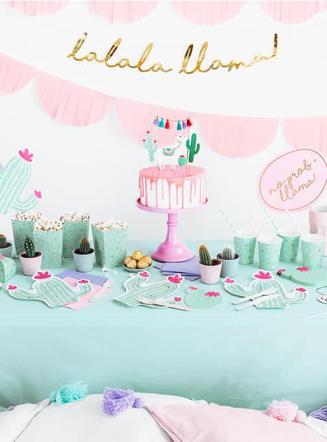 6 cactus borden (23 cm) - Llama Party - voor jouw feest