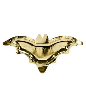 6 tanierov v tvare netopiera zlatej farby (37 cm)