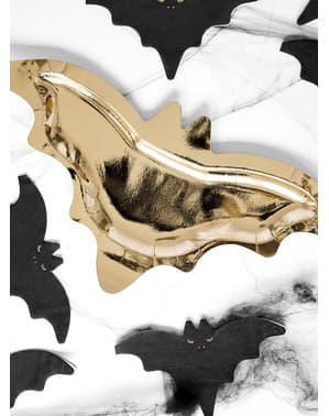6 Fledermaus Pappteller gold (37 cm)