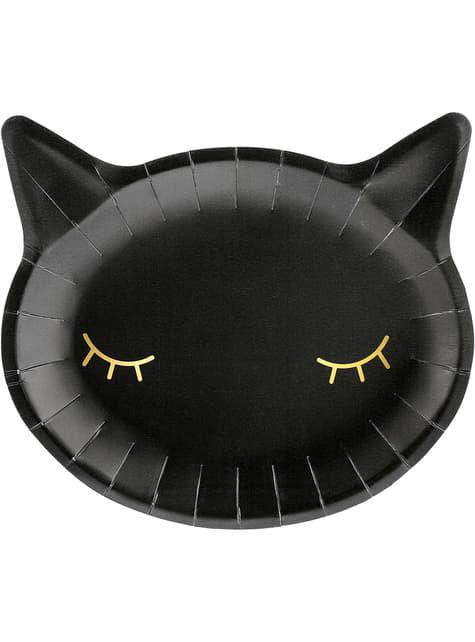 6 Zwarte kat borden (22 cm)
