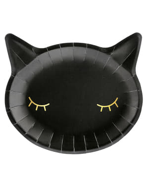 6 Black Cat Plates (22 cm)