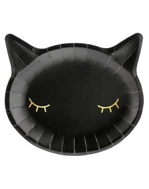 6 svarta Katttallrikar (22 cm)