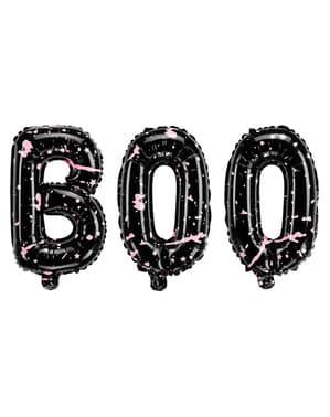 3 Halloween Luftballons schwarz - Boo!