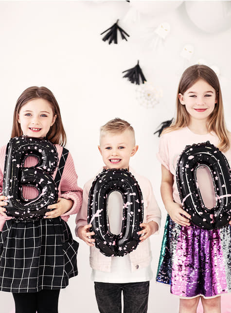3 Halloween balloons in black - Boo! - for parties
