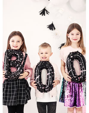 3 czarne balony Halloween - Boo!