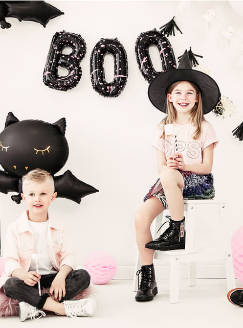 3 balões pretos de Halloween - Boo! - barato
